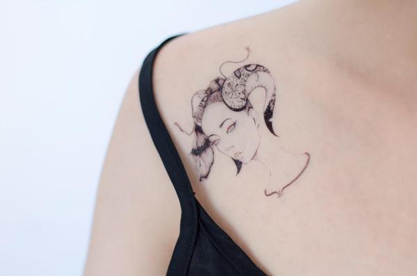 美式纹身图案设计图__卡通设计