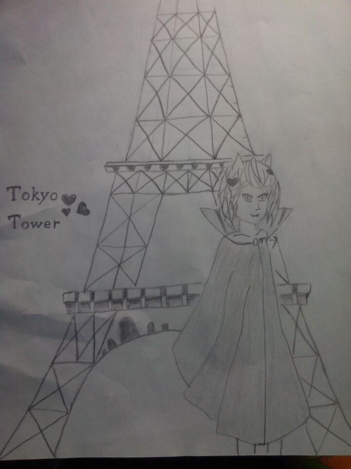 塔透视图手绘