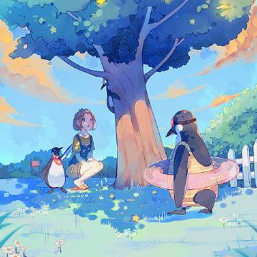 企鹅与泳圈